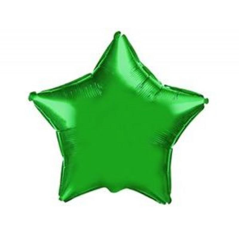 Звезда Металлик Зеленый 18″ с гелием