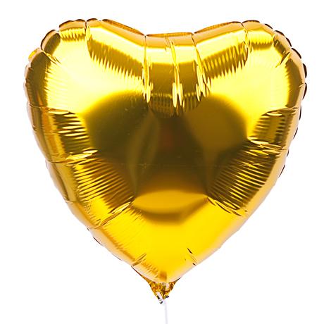 Сердце Металлик Золото 18″ с гелием