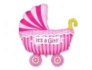 Фигура Коляска детская розовая