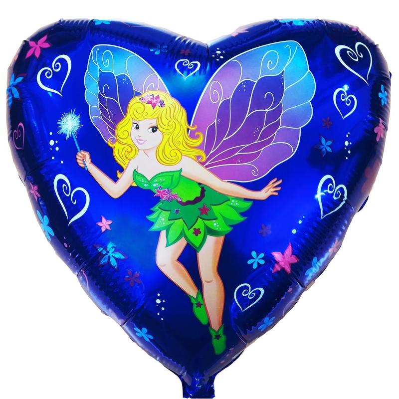 Девочка фея Синее сердце 18″ с гелием