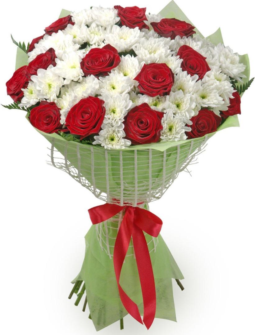 Цветы подарить, букет из розовых хризантем и белых роз