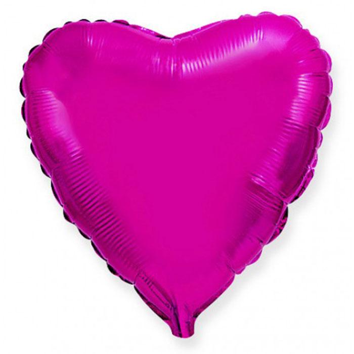 Сердце Металлик Фуксия 32″с гелием
