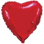 Сердце Металлик Красный 18″ с гелием