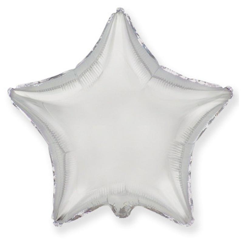 Звезда Металлик Серебро 18″ с гелием