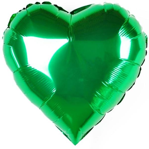 Сердце Металлик Зеленый 18″ с гелием