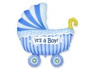 Фигура Коляска детская голубая