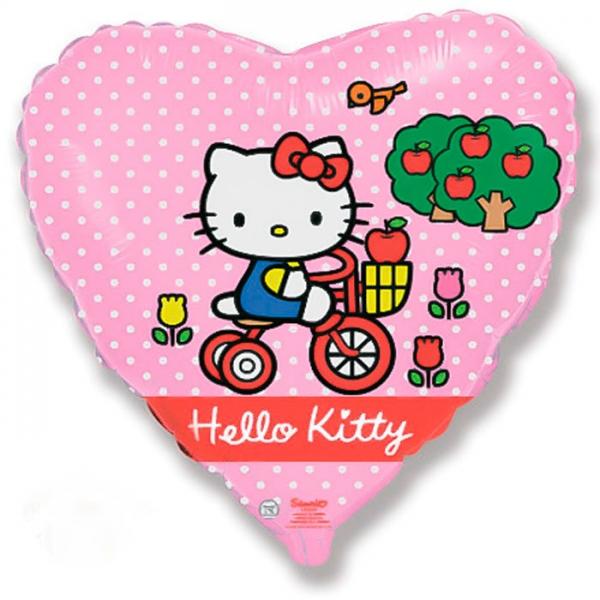 Хеллоу Китти на велосипеде Сердце 18″ с гелием