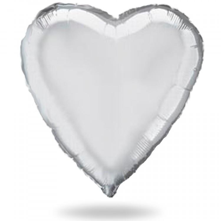 Сердце Металлик Серебро 18″ с гелием