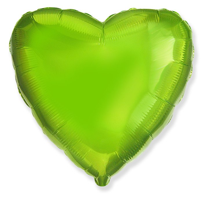 Сердце Металлик Лайм Грин 18″ с гелием
