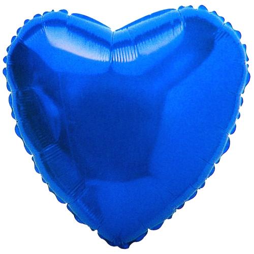 Сердце Металлик Синий 18″ с гелием