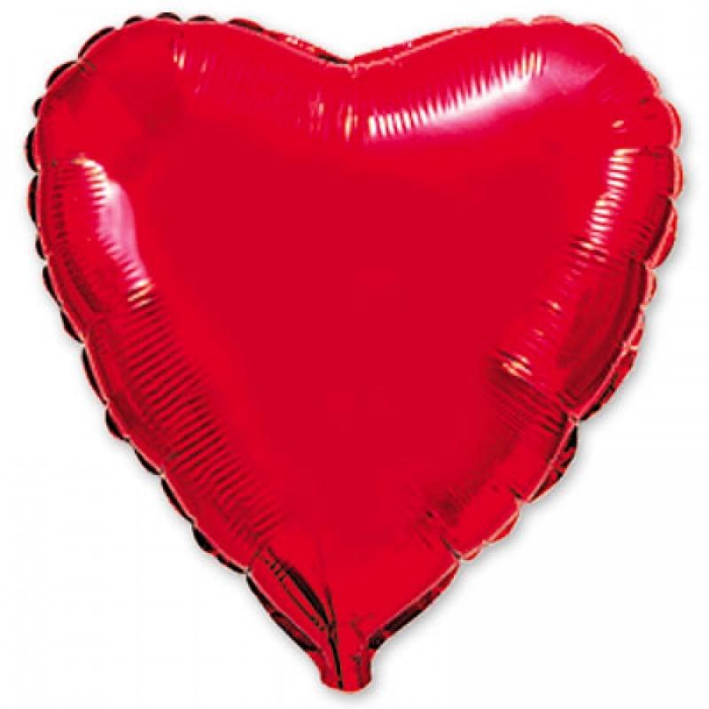 Сердце Металлик Красный 32″ с гелием