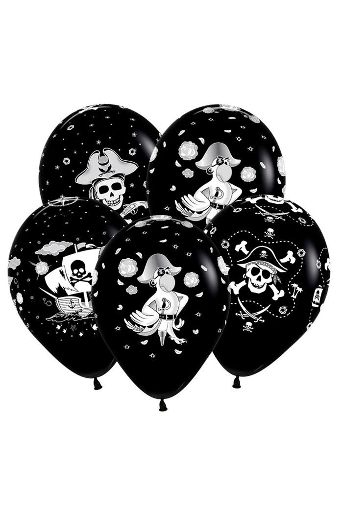 Шар 12″ с гелием Пиратский стиль, черный