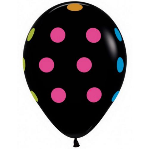 Шар 12″ с гелием Большие кружки разноцветные (неон,черный)