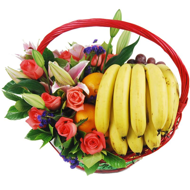 Корзина «Розовая лилия с фруктами»
